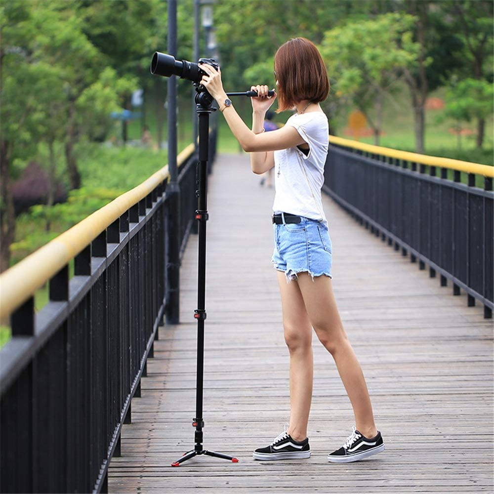 Color : Black, Size : One Size Crystalzhong Camera Tripod Four-Section Telescoping Aluminum-Magnesium Alloy Self-Standing Monopod with Support Base Bracket