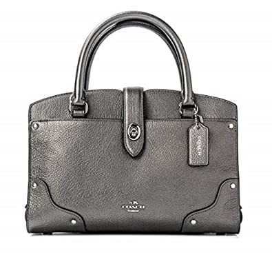 b58482672b7b Amazon.com: Coach Mercer Satchel 24 Metallic Leather Shoulder Bag 59988  Gunmetal: Shoes