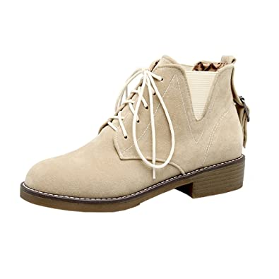 5490c6024aee Agodor Women s Flat Lace Up Nubuck Leather Ankle Boots Platform Close-Toe  Classic Winter Shoes