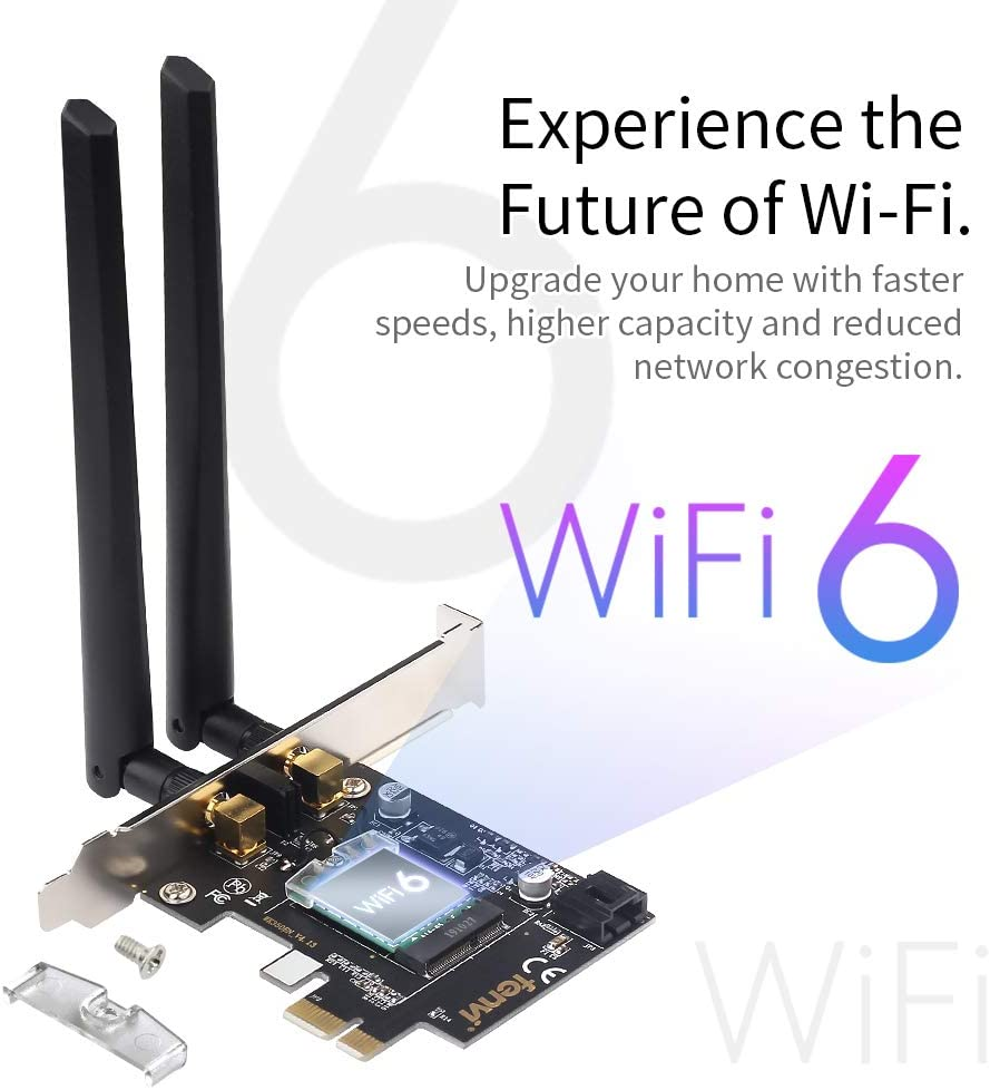 Wifi 6 AX200 Bluetooth 5.0 Card PC Wireless PCIe Wi-Fi 6 AX200NGW Cards 802.11ax PCI Network Desktop Computer Adapter for AX ax11000 Router 2.4Ghz 5Ghz 3000Mbps Gigabit Speed 4k 8k Video Gaming
