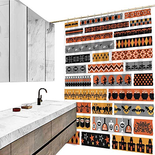 Bathroom Accessories, Halloween Clipart Washi Tape Pattern, W72 xL84, Waterproof Polyester Bathtub Curtain. -