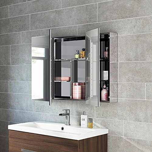 600 X 900 Stainless Steel Bathroom Mirror Cabinet Modern Triple Door