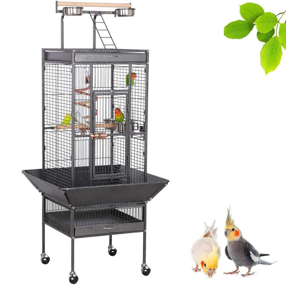 Yaheetech 61-inch Playtop Wrought Iron Large Parrot Bird Cages with Rolling Stand for Cockatiels Amazon Parrot Quaker…