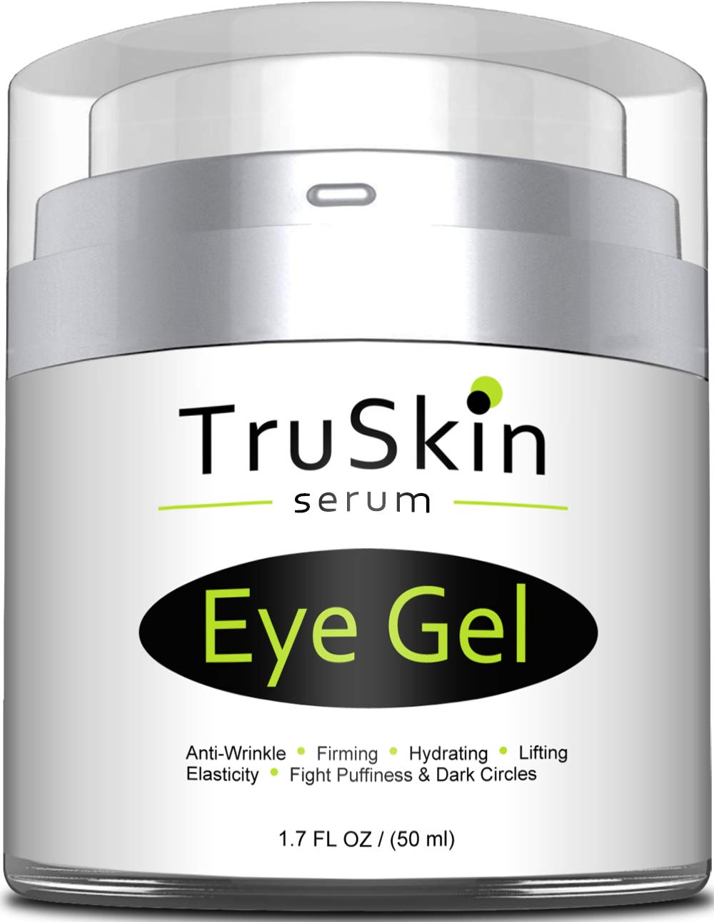 Best Eye Gel for Wrinkles, Dark Circles, Under Eye Puffy Bags, Crepe Eyes, Super Eye Cream Moisturizer Serum for Men & Women - 1.7 fl oz by TruSkin Naturals