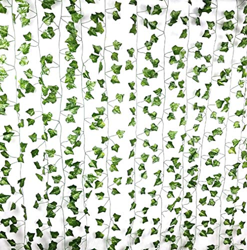 (Excellous 12 Pack - 84-Ft Silk Artificial Ivy Vines Leaf Garland Plants Hanging Wedding Garland Fake Foliage Flowers Home Kitchen Garden Office Wedding Wall Decor Jungle Party)