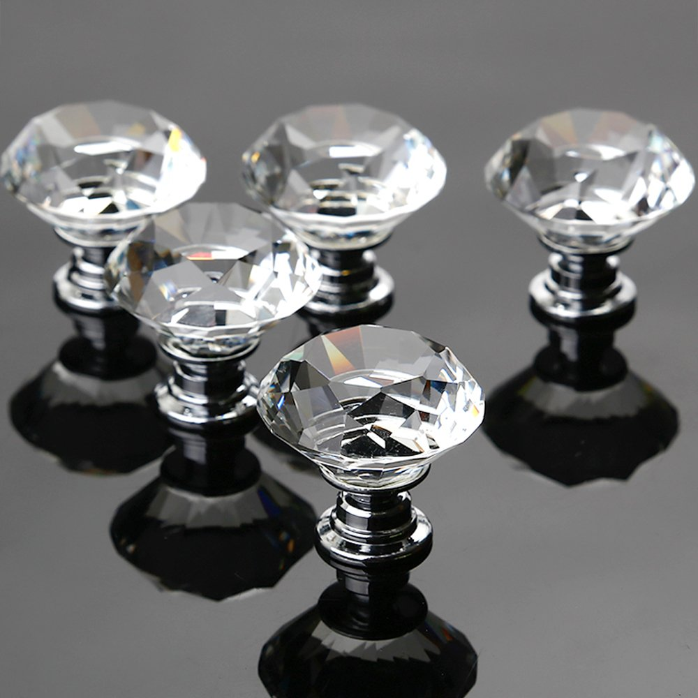 Crystal Door Knobs, 5 X 30MM Crystal Glass Diamond Cut Door Knobs Kitchen Cabinet Drawer Knobs with Screw for Home Decorating