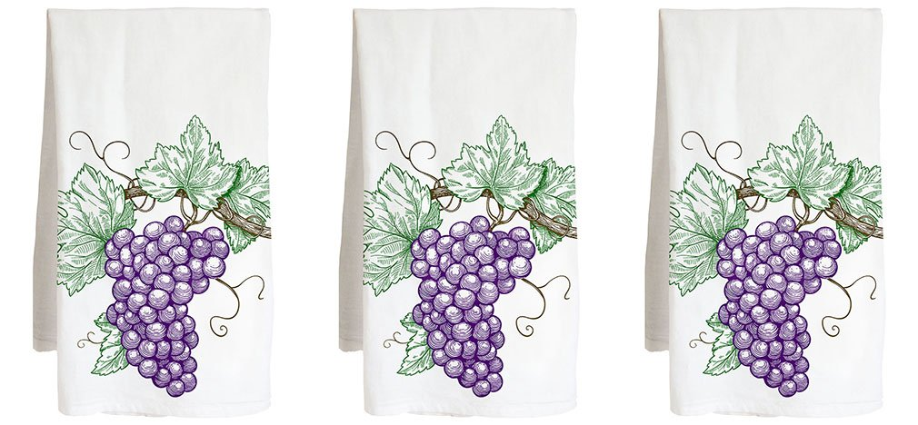 Grape Cluster Three Pack - Wine White red - Farm Flour Sack Kitchen Tea Towel