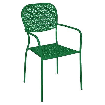 4 x comercial jardín verde acero estampado Bistro sillones ...