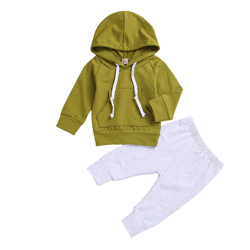 Newborn Newborn Unisex Baby Age Hooded Tops Sweatshirt and Trousers Pants Leggings Outfits Clothes Set