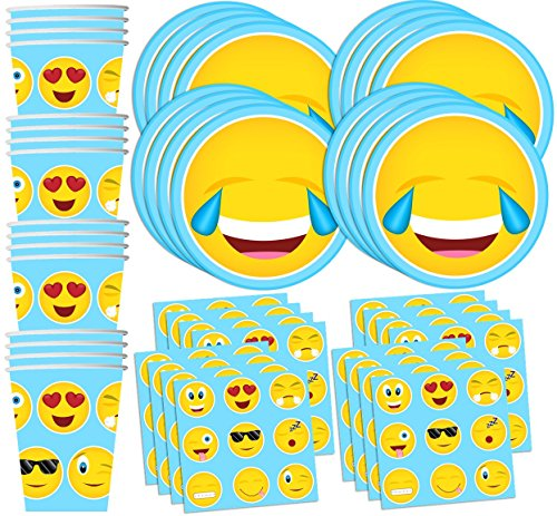 Emoji-Birthday-Party-Supplies-Set-Plates-Napkins-Cups-Tableware-Kit-for-16-by-Birthday-Galore