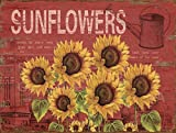 Barnyard Designs Six Sunflowers Retro Vintage Tin Bar Sign Country Home Decor 10'' x 13''