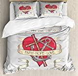 Ambesonne Hope Queen Size Duvet Cover Set by, Antique Anchor and Spiritual Symbol on Heart Motif with Faith Hope Love Quote, Decorative 3 Piece Bedding Set with 2 Pillow Shams, Ruby Grey Beige