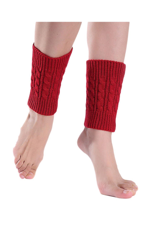 Donne È Il Cavo A Crochet Tratto Boot Manette Calzini Corti Scaldamuscoli ITTNHXS14-Black-F