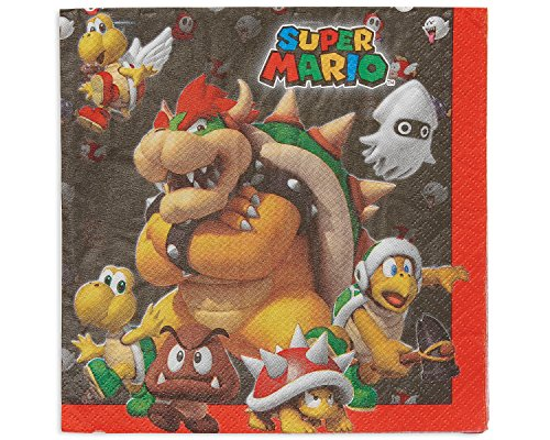 Amscan Swank Super Mario Brothers Birthday Party Luncheon Napkins Tableware (16 Pack), 6 1/2