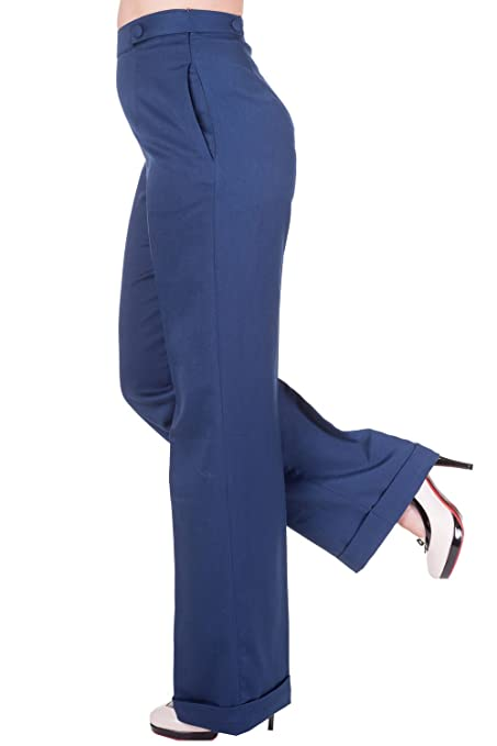 1940s Style Pants & Overalls- Wide Leg, High Waist Banned Party On Trousers - 26 to 34 Inch Waist  AT vintagedancer.com