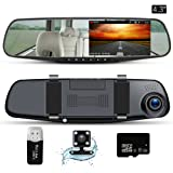 """Dash Cam Mirror Camera 4.3"""" LCD FHD 1080P Dual Lens Car Camera Front and Rear View Camera with G-Sensor Parking Monitor Video Recorder"""