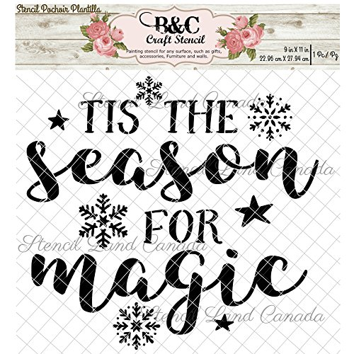 Christmas Words stencil quote Tis the season for magic for craft and home decoration wood signs CFT0032 (Christmas Quotes Season)