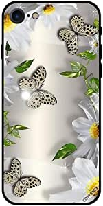 Case For iPhone 8 - Black Dots Butterflies & White Flowers