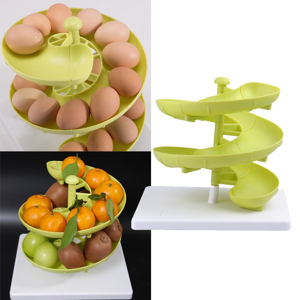 Profesional huevera, huevera de plástico Run cesta soporte para dispensador de huevo para medianas y grandes huevos con Base, color verde: Amazon.es: Hogar
