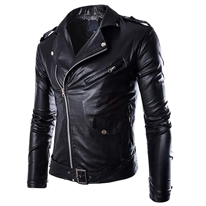 Toimothcn Mens Casual PU Leather Jacket Motorcycle Zipper ...