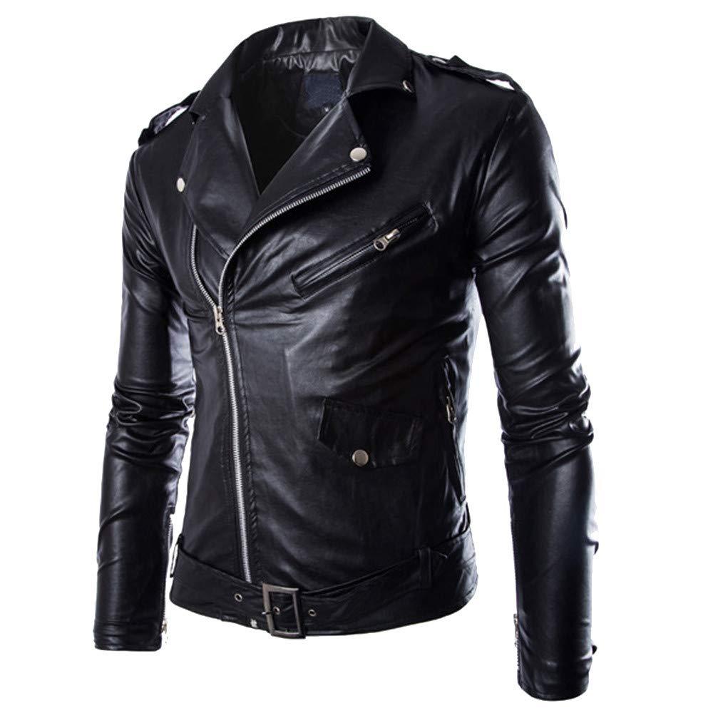 kemilove Men's Classic Faux-Leather Biker Zipper Jacket Coat