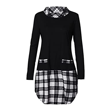 9bb683be256 Shybuy Women s Long Sleeve Hoodie with Plaid Cuffs Casual Plus Size  Sweatshirt Tops Blouse (Black