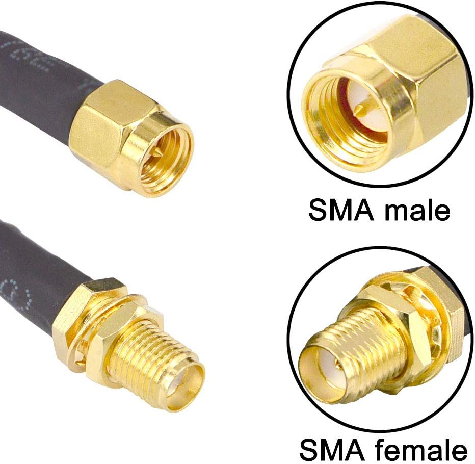 Low-Loss Coaxial Extension Cable 15-Meter 49.2 Ft RG58 SMA Female to SMA Male Extension RF Coaxial Cable Connector and Two-Way Radio Applications Pure Copper 50 ohm RF Jumper Cable