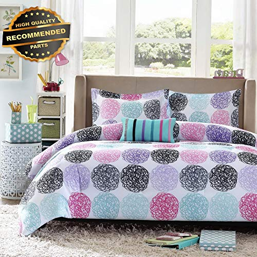 Gatton Premium New Carly Comforter Set Full/Queen Size - Teal, Purple, Doodled Circles | Style Collection Comforter-311013032