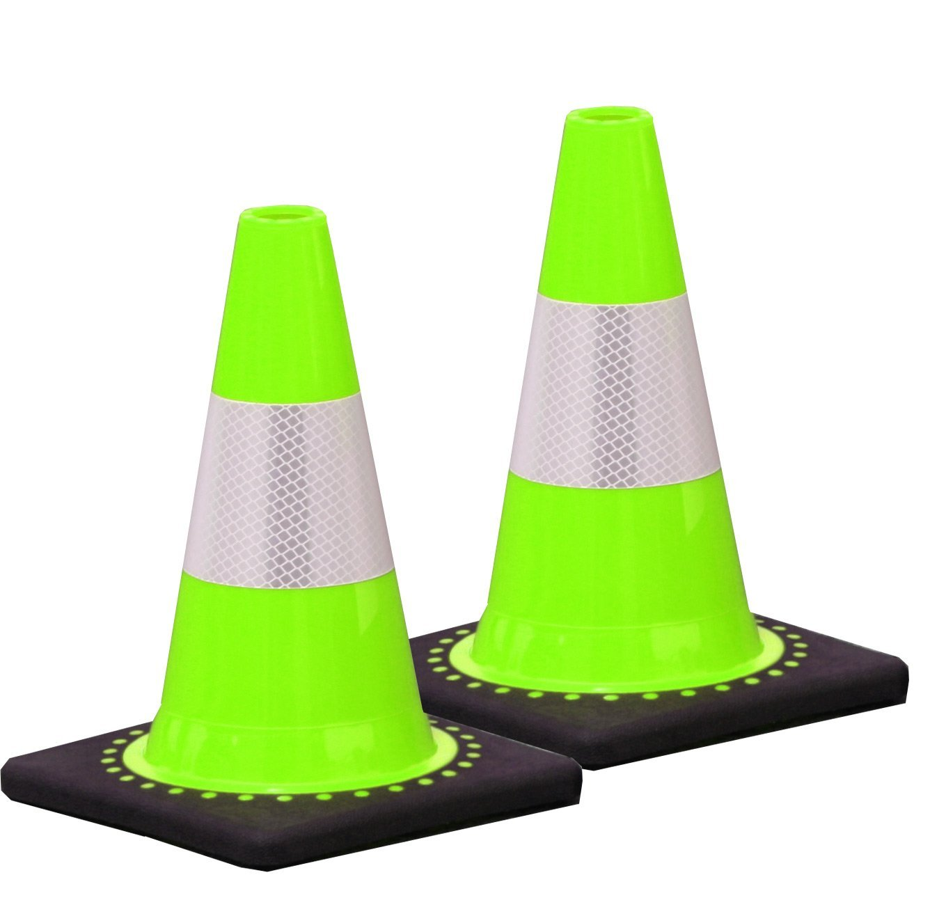 2 Pieces UVV® Reflective Mint Green 30 cm with Reflective Foil Stripes Type RA2/B – Traffic Cone – Warning Cone Stackable ES-Team Consult GmbH