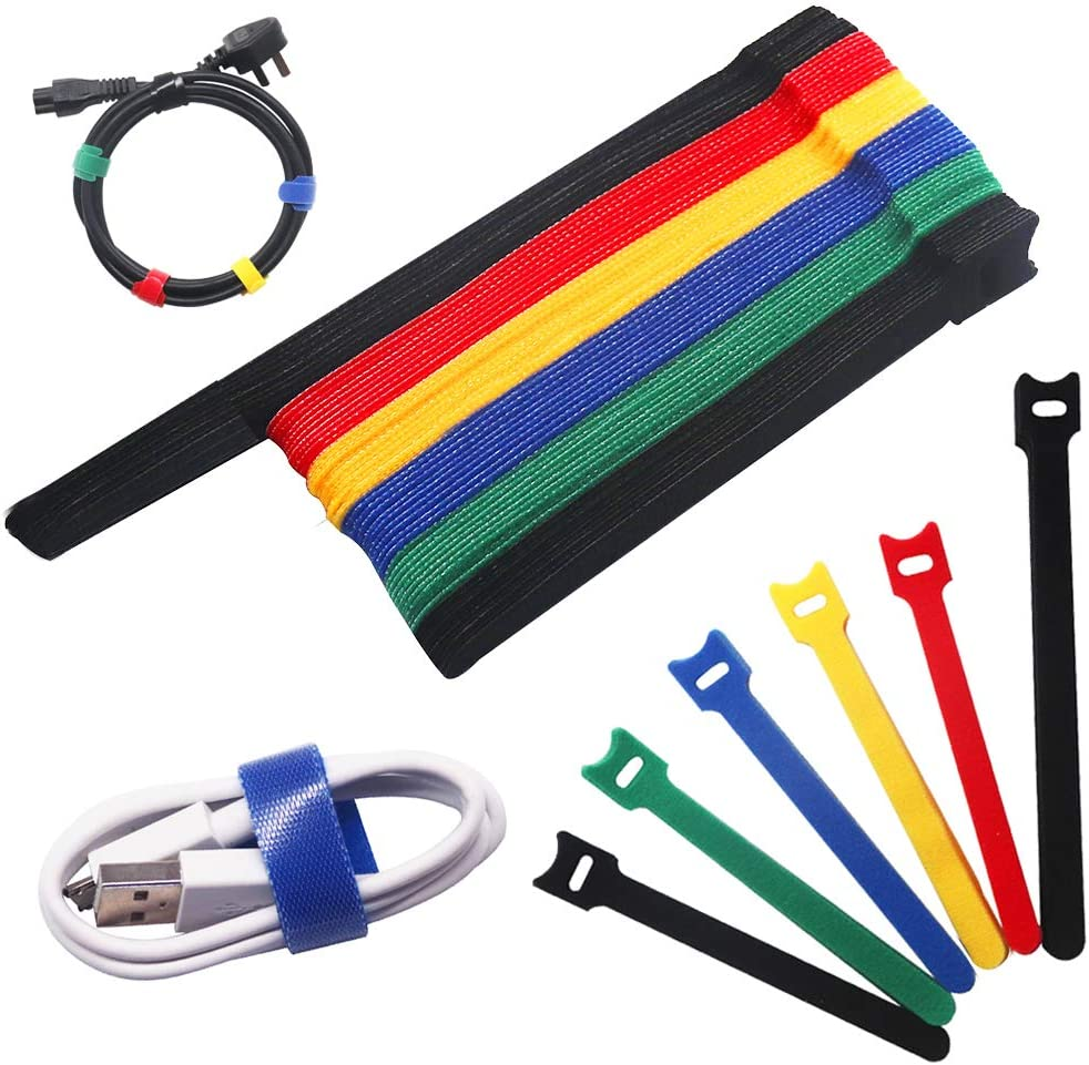 60 Pcs Reusable Velcro Cable Ties, EFFIET Adjustable Cable Straps with Hook and Loop, Multi-Purpose Fastening Cord Wire Ties for Computer/TV/Electronics/Appliance, 2 Sizes and 5 Colors