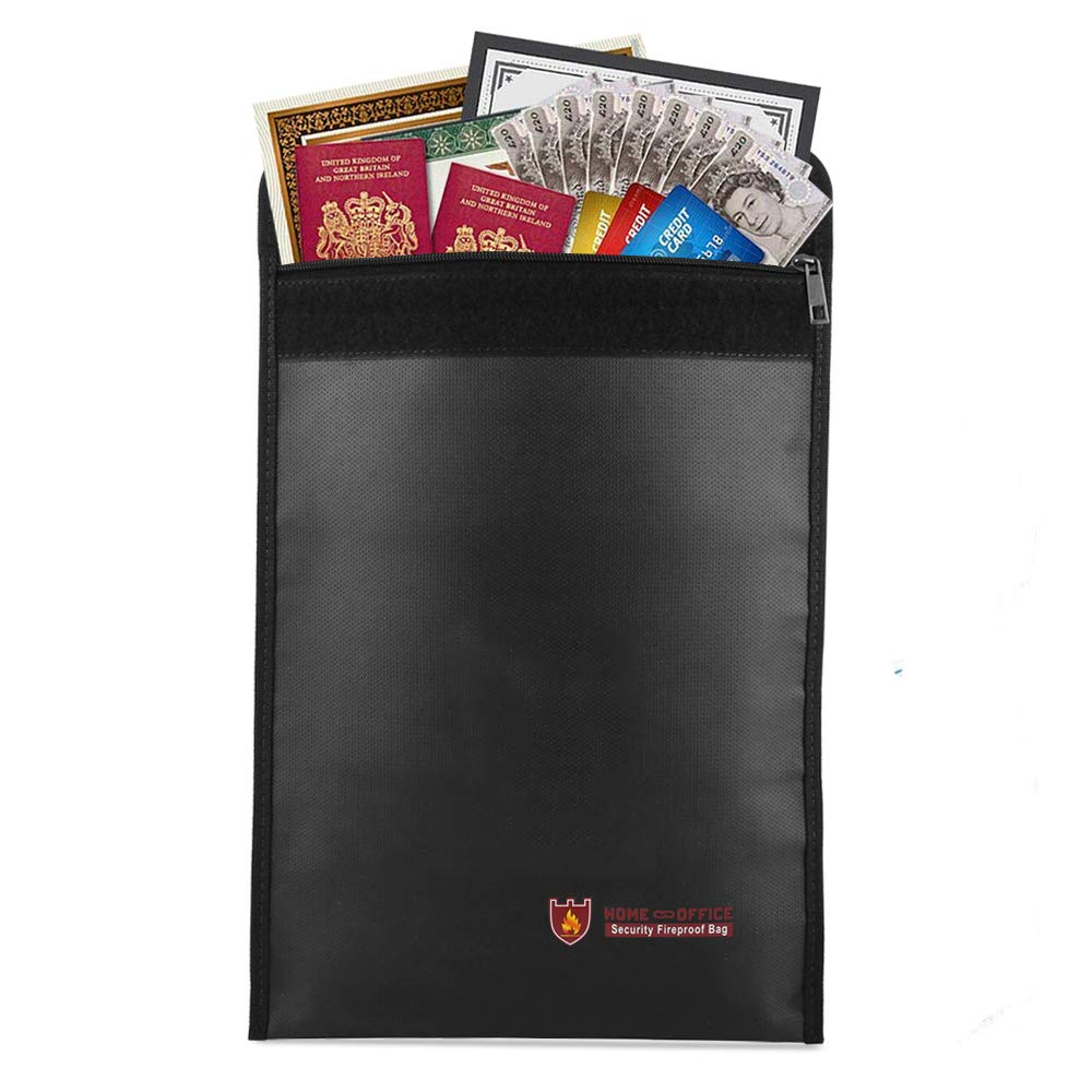 Qniglo ignifugo documento bag 38,1 x 27,9 cm Fire & Water Resistant Document Holder borse non-itchy sacco di soldi cassaforte ignifuga, rivestito in silicone, per proteggere il tuo documenti, passaporto, denaro, gioielli, oggetti di valore 1x