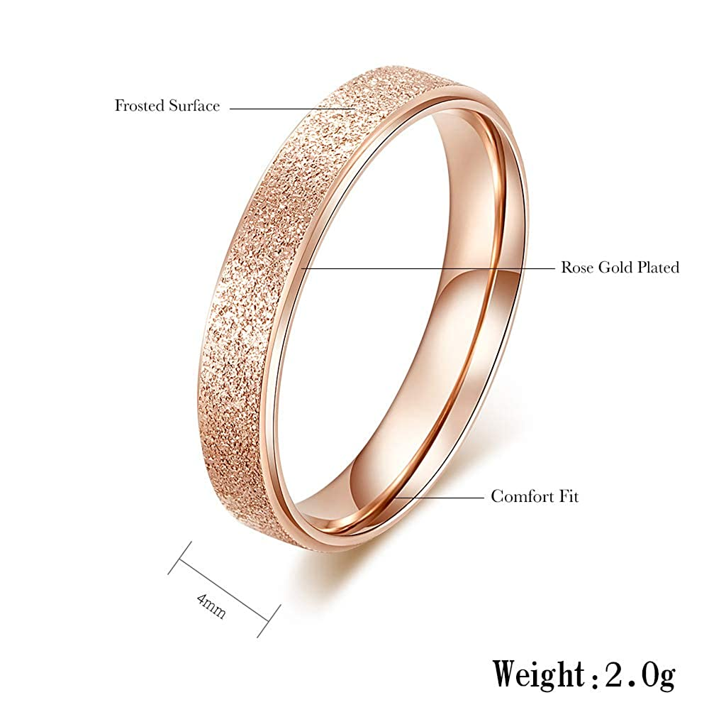 Amazon Com 4mm Rose Gold Rings For Women Men Wedding Bands Bridal