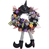 """wlflash 24"""" W x 39"""" H x 6"""" D Happy Halloween Wreath for Front Door Decoration with Purple Ball Ornaments,Maple Leaf,Mesh…"""