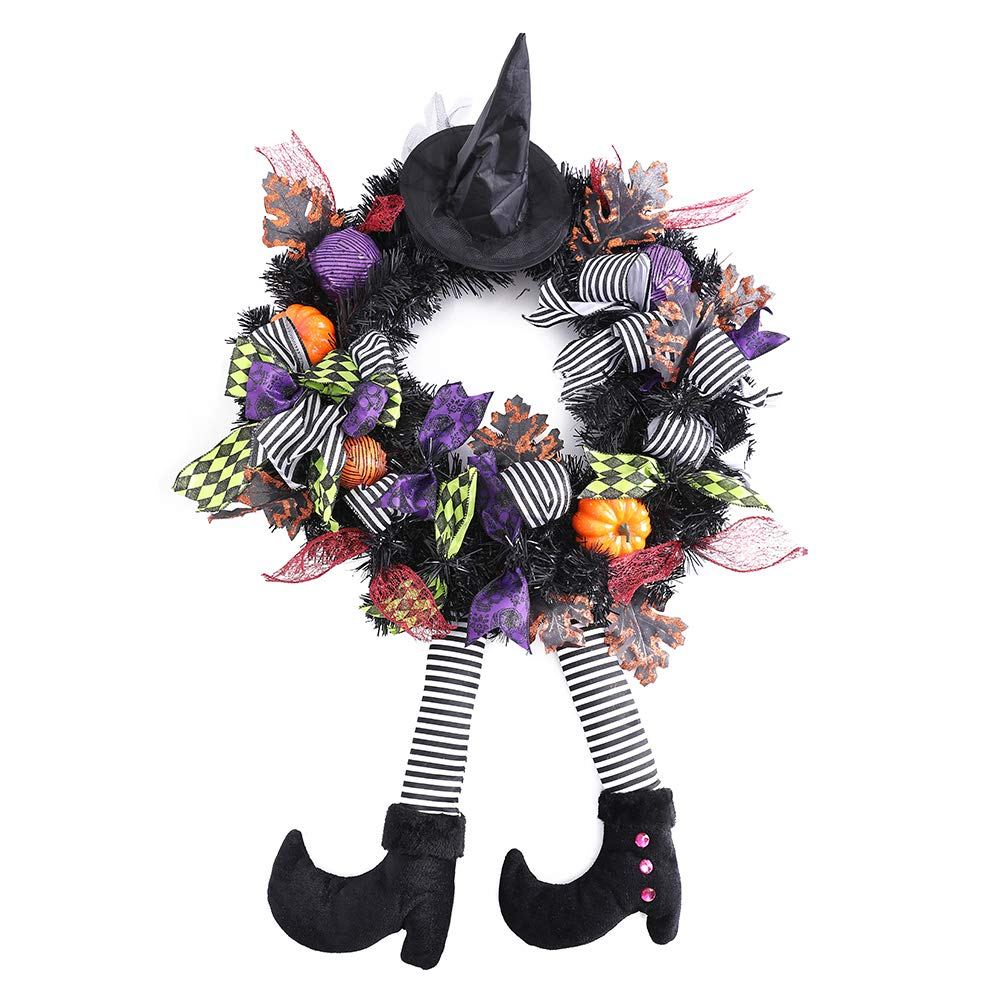 wlflash 24'' W x 39'' H x 6'' D Happy Halloween Wreath for Front Door Decoration with Purple Ball Ornaments,Maple Leaf,Mesh Bows,Pumpkin,Witch Hat and Legs,Green Ribbons (Black and Orange) by wlflash