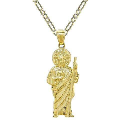 d800cc24d520 Pyramid Jewelry Collar con Colgante de San Judas de Oro de 14 K de ...