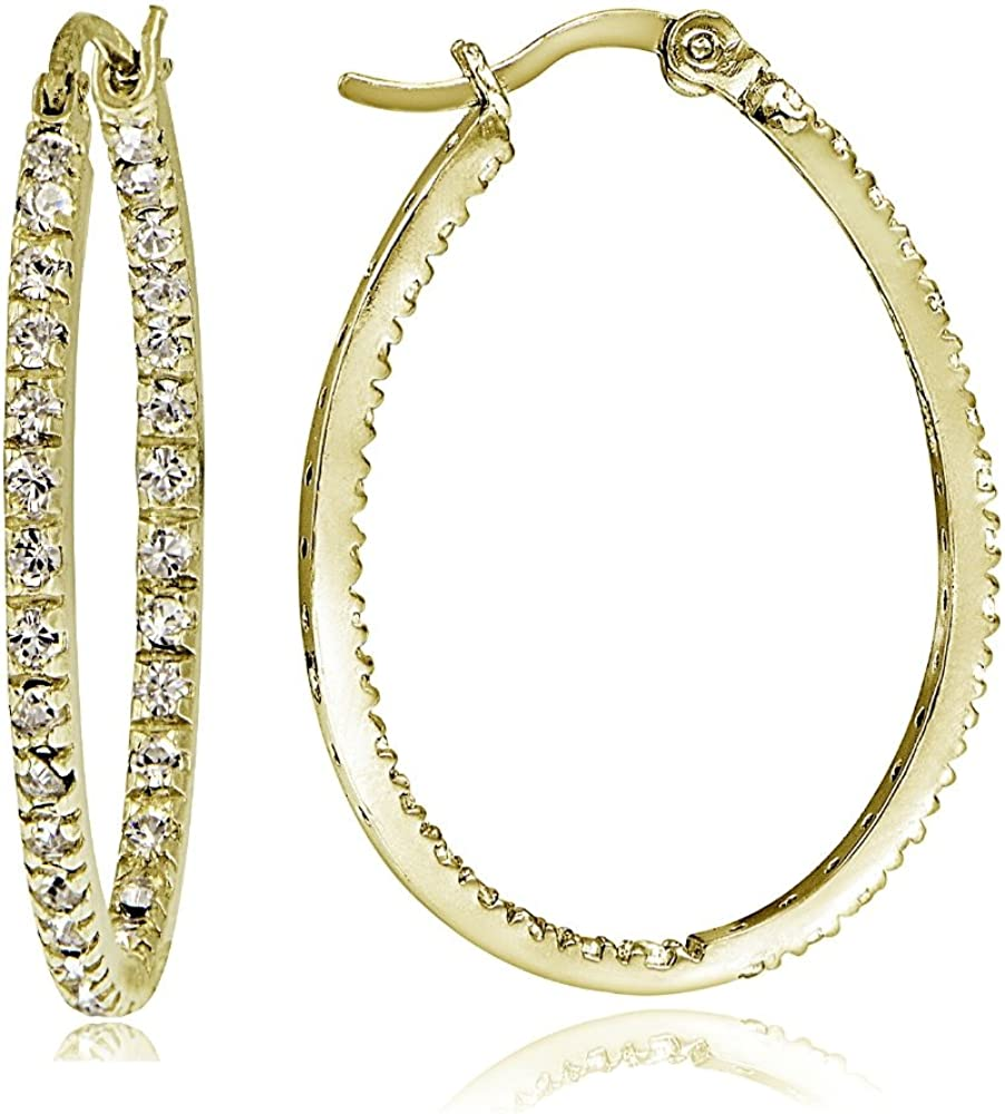 Details about  /925 Sterling Silver Rhodium Plated CZ In and Out oval Hoop Earrings