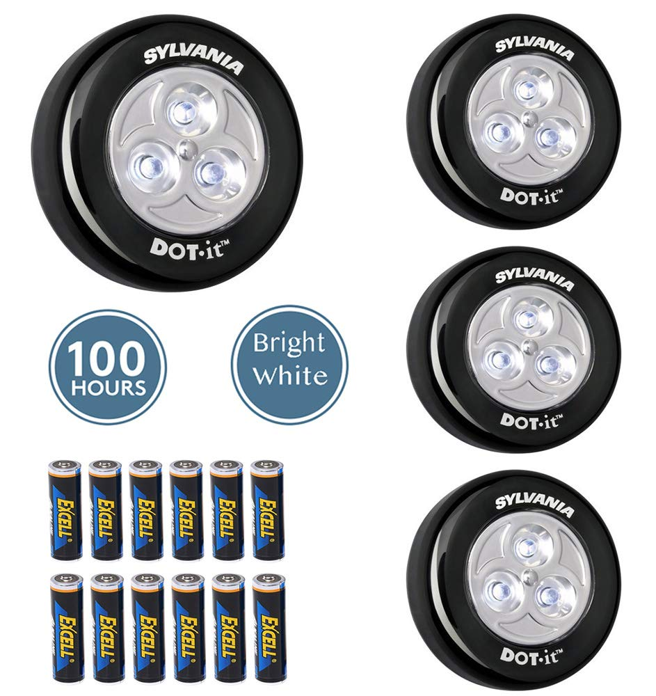 LED Closet Lights Battery Operated - Last 100 Hours - Built In Magnet - Stick On Self Adhesive - Under Cabinet Counter Car Camping Storage Room