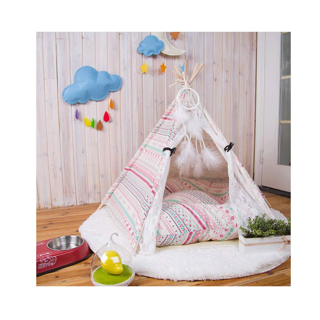 B S S Pet Tent Wooden Dog House Pet Bed Cat Bed Yurt Wasable Kensel Cat Litter Small (colore: B, Dimensione: S)