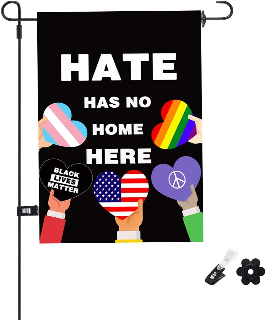 "Uddiee Hate Has No Home Here Garden Flag Decorative Hate Has No Place Here Garden Flag Double-Sided for Outdoor Yard Decoration(12"" x 18"")"