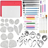 62pcs Gumpaste Flowers and Leaves Fondant Tool Leaf Tool Kit Gum Paste Flower Cutter Set Stainless Steel Flower Cutter Silico
