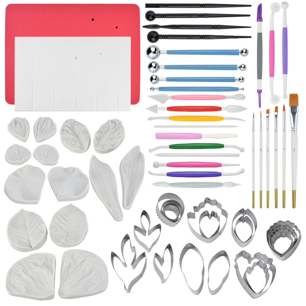 62pcs Gumpaste Flowers and Leaves Fondant Tool Leaf Tool Kit Gum Paste Flower Cutter Set Stainless Steel Flower Cutter Silicone Molds Foam Pad Veining Board Ball Tools Modelling Tools Brushes