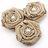 Summer-Ray.com 12pcs Handmade Linen Fabric Roses Shabby Chic Fabric Flower