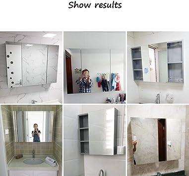Armarios con espejo de Tres Puertas para baño Armario de Acero ...