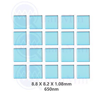 Quanmin 30pcs //1 Lot 8mm/×8mm/×0.7mm 650nm IR-Cut Blocking Filter Square Optical Multi-Coating Color Low-Pass IR Filters for Camera Sensor