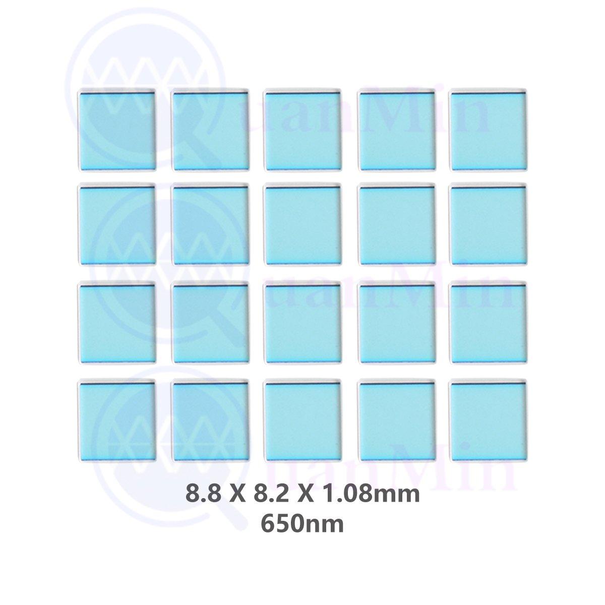 Quanmin 20pcs/1 Lot 8.8mm×8.2mm×1.08mm 650nm IR-Cut Blocking Filter Square Optical Low-Pass Infrared Block Filters For Camera Lens