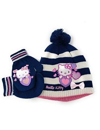 54634d811bc7 Hello kitty Bonnet et moufles bébé enfant fille 3 coloris de 9mois à 3ans   Amazon.fr  Vêtements et accessoires