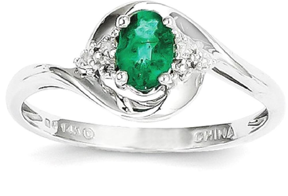 ICE CARATS 14k White Gold Green Emerald Diamond Band Ring Size 7.00 Stone Birthstone May Set Style Fine Jewelry Gift Set For Women Heart