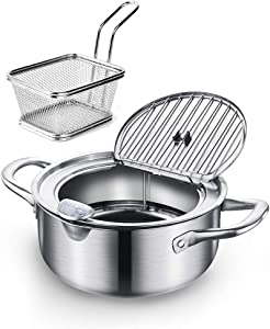 Collfa 304 Stainless Steel Deep Fryers Pot For The Home With Basket And Oil Thermometer Tempura Pot With Lid Oil Filtration Drain System For The Fry Chicken, Chips, Shrimp,Fish And Meat(4L)