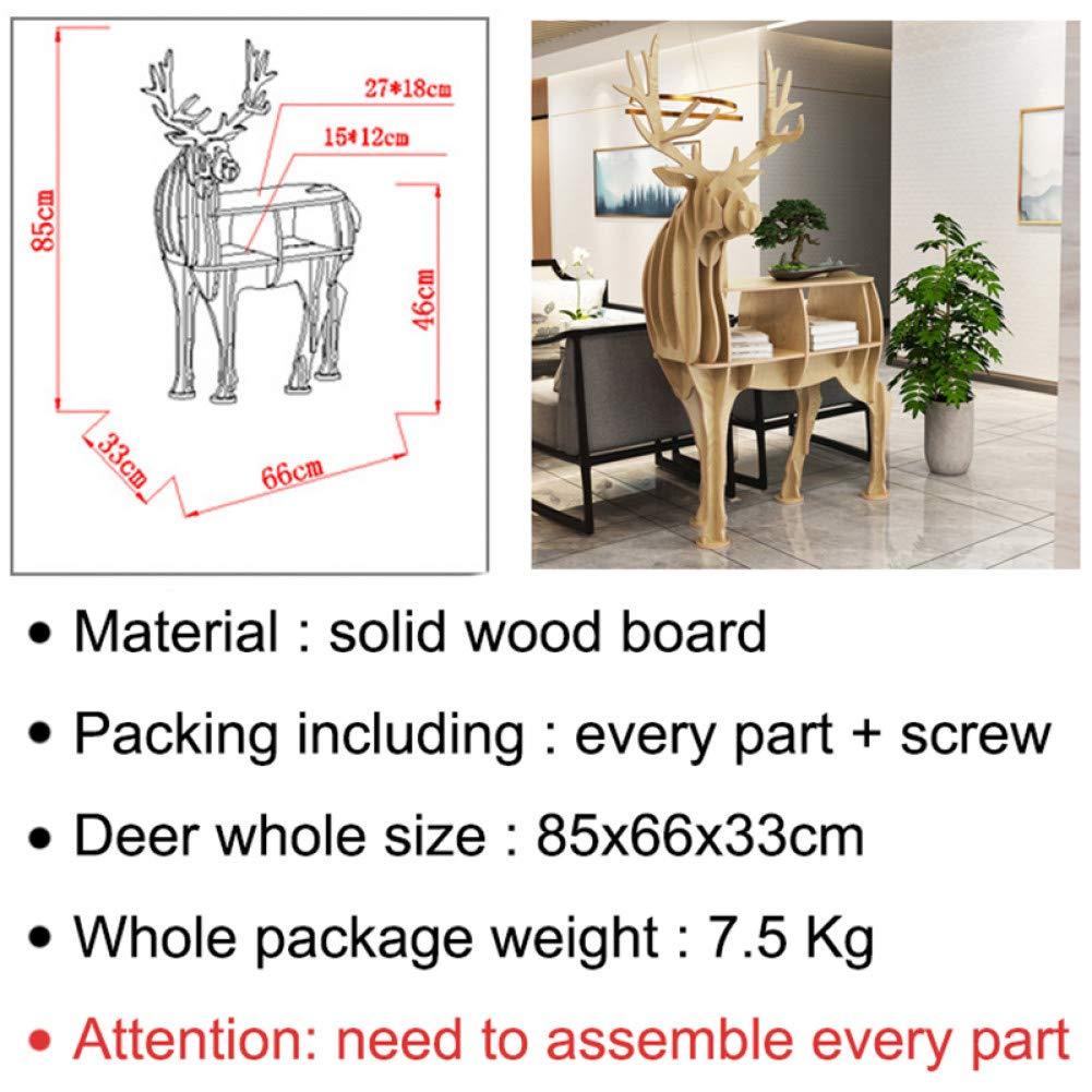 Ufficio 85 x 66 x 33 cm Decorazione scaffale per libreria Decorazione per casa Scultura a Forma di Alce Negozio Baozoun Statua di Cervo Scultura in Legno di Grandi Dimensioni