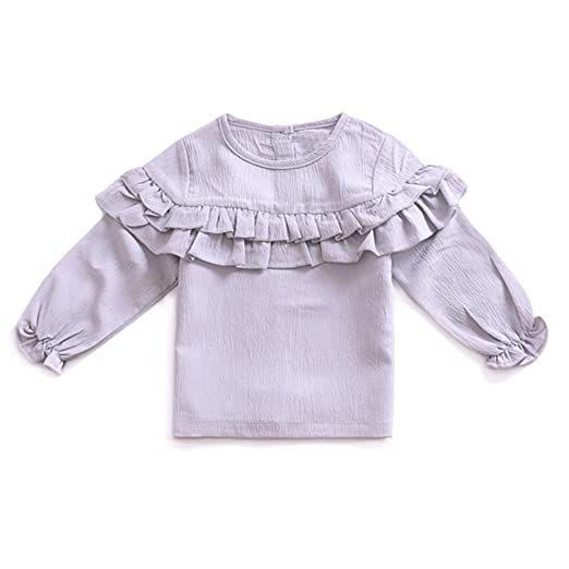 40facc62c YOHA Baby Girls Spring Autumn Ruffle Top Blouse Long Sleeve Toddler Casual  Tops Grey,70